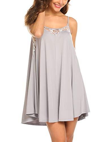 3e9c1018d Ekouaer Sexy Lingerie Sleeveless lace Nightgown Adjustable O Neck Full  Camisole Slip Dress S-XXL