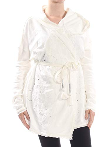 - Free People $68 Womens White Embroidered Eyelet Hooded Tie Front Sweater S B+B