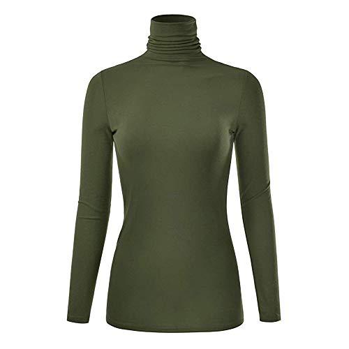 NREALY Tops Womens Winter Warm Lightweight Long Sleeve Turtleneck Top Sleepwear Blouse Shirt(M, Army Green) ()