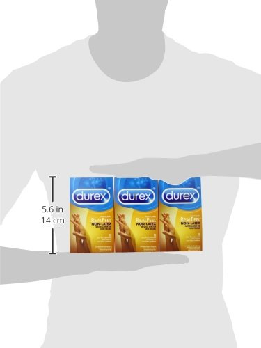Durex Condom Real Feel Non Latex Condoms, 30 Count (3x10) - Ultra Fine & Lubricated for skin on skin feeling