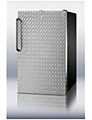 Summit FS408BLDPLADA Refrigerator, Silver With Diamond Plate
