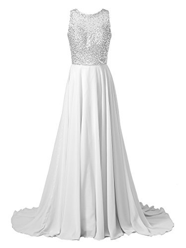 Callmelady Chiffon Long Prom Dresses With High Neck & Beaded Mesh Bodice (White, (White Beaded Bodice)