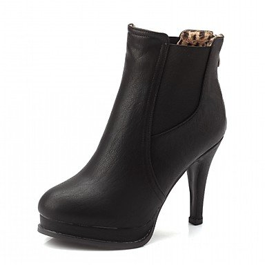 Women's Shoes PU Leatherette Fall Winter Comfort Novelty Bootie Boots Stiletto Heel Round Toe Booties/Ankle Boots Zipper For Party & Black mNj4B0