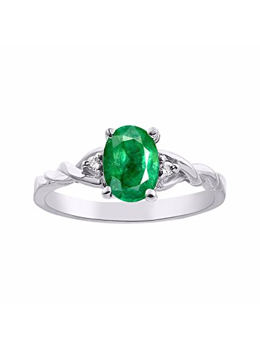 Diamond & Emerald Ring Set In 14K White Gold - Set Ring Claddagh Emerald