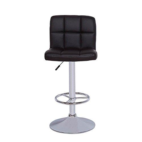 Cheap Vogue Furniture Direct Vogue Furniture Black Quilted Vinyl Adjustable-Height Chrome Base and Footrest Barstool