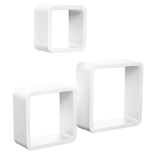 WOLTU 3-Piece Floating Shelf Set Decorative Rounded Cube Shelves CD Racks, White,WS12whi-a Review