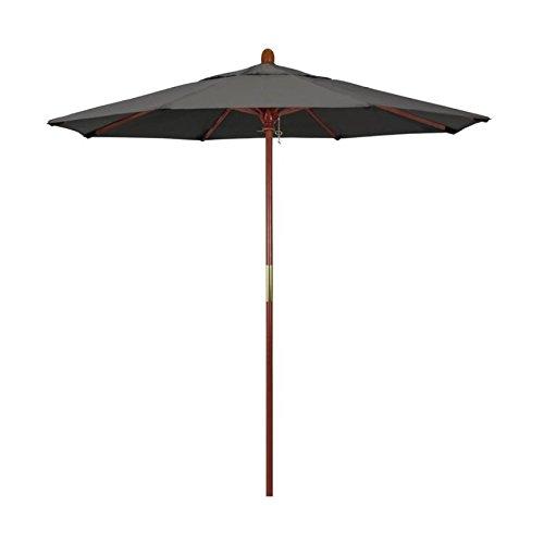 California Umbrella 7.5' Grove Series Patio Umbrella With Wood Pole Hardwood Ribs Push Lift With Sunbrella 1A Charcoal Fabric
