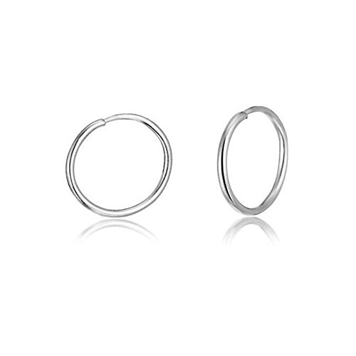Ring Earrings Silver (Sterling Silver Small Endless Hoop Earrings for Cartilage, Nose or Lips, 8mm)