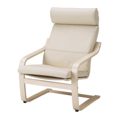 Ikea Poang Chair Armchair and Footstool Set with Off-white Leather Covers