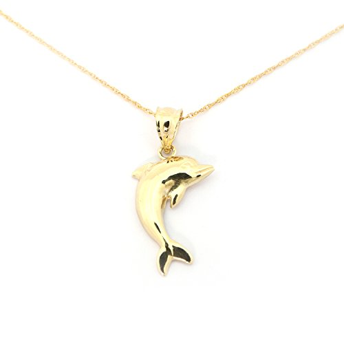 14k Yellow Gold Dolphin Pendant Necklace - 18'' by Beauniq