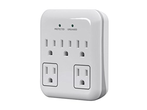 (Monoprice 5 Outlet Small Appliance Surge Protector with 2 Transformer Outlets, 900 Joules, White)