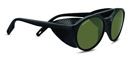 Serengeti Leandro Glacier Sunglasses Satin Black/Satin Dark Gunmetal, Green by Serengeti