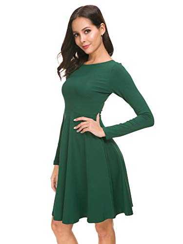 c2014880d94 Missufe Women s Casual Long Sleeve Slim Fit and Flare Swing Skater Dress ( Long Sleeve Green