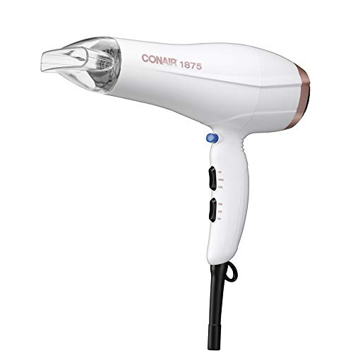 Conair 1875 Watt Double Ceramic Hair Dryer, White/Rose Gold - 31I5eCq3nKL - Conair 1875 Watt Double Ceramic Hair Dryer, White/Rose Gold