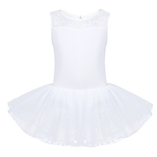 iiniim Kids Girls Cutout Back Ballet Dance Dress Leotard Tutu Skirt (8-10, Ivory) by iiniim