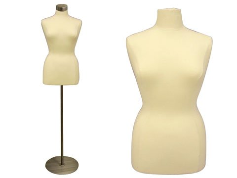 (Jf-f14/16w+BS-04) Roxy Display Female Body Form white with round metal base+Cap fabric. solid foam.
