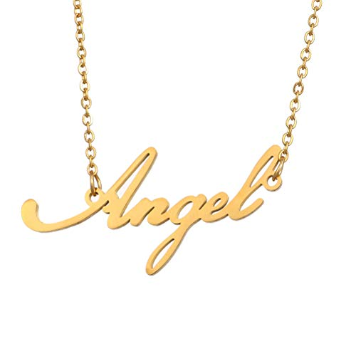 (Name Necklace Personalized,Name Necklace Cursive Font Made with Name Pendant 16