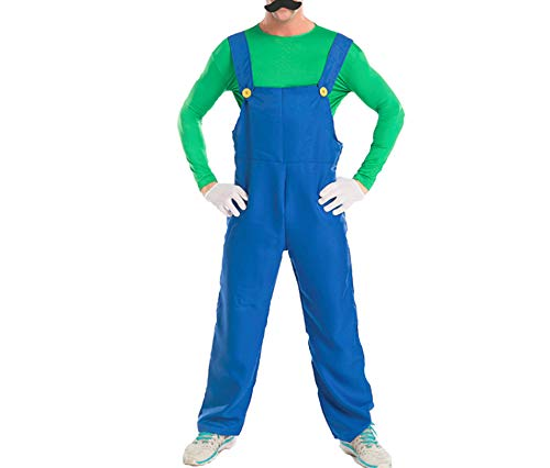 Mitef Unisex Super Mario Luigi Brothers Cosplay Costume for Adult, Green, XL]()