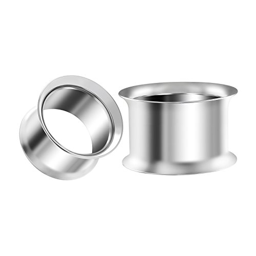 BIG GAUGES Pair 316L Surgical Steel 5/8 inch Gauge 16mm Double Flared Piercing Jewelry Stretcher Ear Plug Earring Lobe Tunnel BG1282