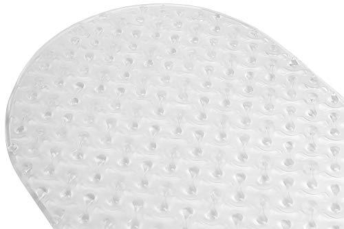 "Home Basics Plastic Clear Bayou Oval Design Bath, Shower, Tub Mat-Drain Holes, Suction Cups, Superior Grip, Antibacterial, Anti Slip & Washable (15""x 26""), 15"" x 26"""