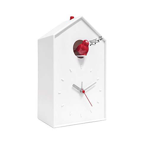 Mantle Cuckoo Clock - Balvi Cuckoo Clock - White Birdhouse with Red Bird, Minimalist Modern Design