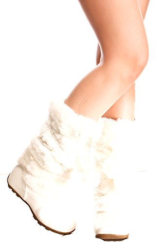 BLOSSOM FUR SUEDE MATERIAL LOOK LACE ACCENT CASUAL KNEE HIGH BOOTS 6 white