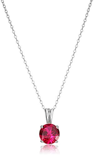 Amazon Essentials Sterling Silver Round Cut Created Ruby Birthstone Pendant Necklace (July), 18