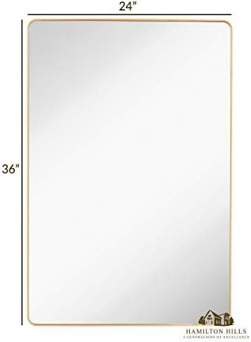 Hamilton Hills Gold Mirror Bathroom Mirrors
