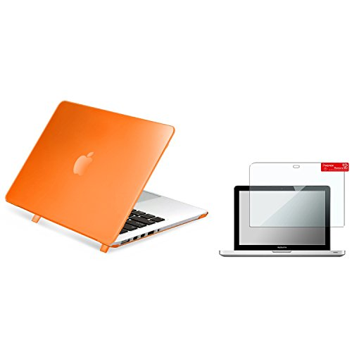 Insten Orange Snap-in Rubber Case + Reusable Screen Protector For Apple Macbook Pro with Retina Display 13 inch (2014)/with Retina Display 13 inch (2015)