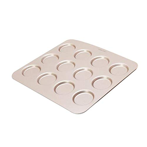 Fenteer Non-Stick 12 Cup Muffin Top Pan, Whoopie Pie Baking Mold, Perfect for Hamburger Buns, Cookie Pastry Baking