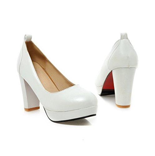 AllhqFashion Damen PU Leder Eingelegt Schnalle Rund Zehe Hoher Absatz Pumps Schuhe Weiß