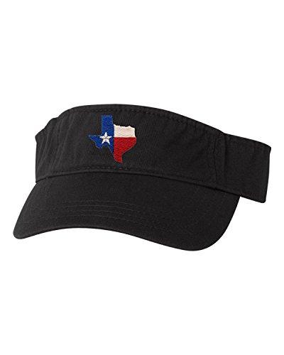 Go All Out Adjustable Black Adult Texas Flag Embroidered Visor Dad Hat