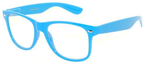 Vintage Clear Lens Sunglasses Blue Frame Retro Stylish - Blue Framed Sunglasses
