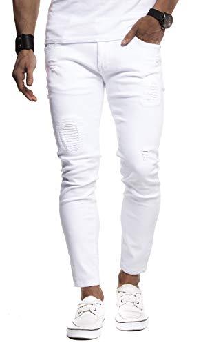 Leif Nelson Herren Jeans-Hose Slim Fit Moderne Denim Freizeithose für Männer Moderne Stretch weiße Jeanshose schwarz LN9100F