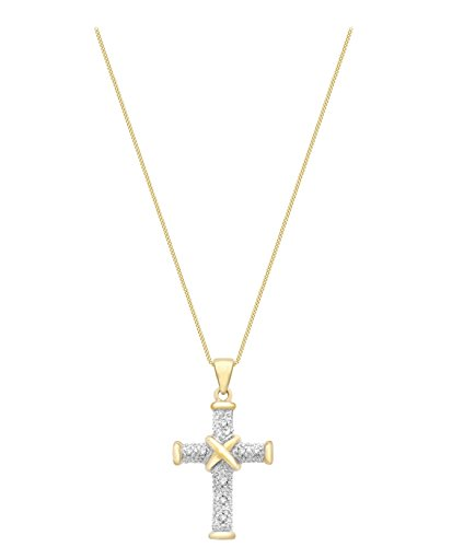 Carissima Gold - Collier Femme avec pendentif - Croix - Or jaune (9 cts) 2.1 Gr - Diamant