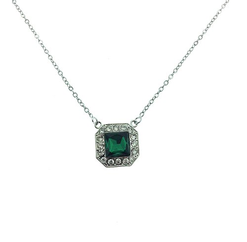 """Vibrant Square Pendant Necklace with Cz Emerald Stone and White Cz Stones Includes 20 Inch Rolo Chain Necklace with Adjustable Spring Ring Clasp 16"""" - 20"""" Silver Overlay"""