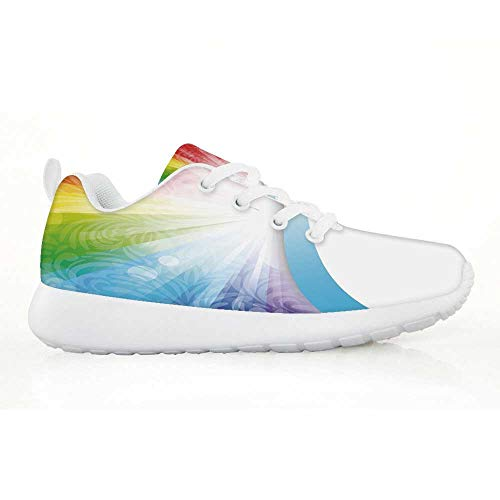 TecBillion Rainbow Comfortable Running Shoes,Floral Pattern with Rainbow Colors and White Rays in Middle Flowers Nature for Kids Boys,EU31