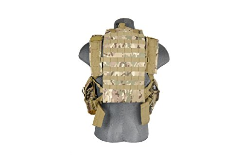 Lancer Tactical CA-307 Modular Airsoft Chest Rig with Removable Hydration Pouch - Camo