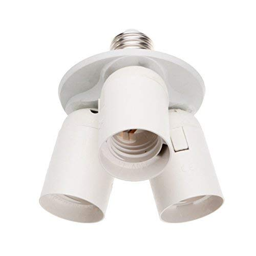 Superdream E26 E27 Lamp Bulb Socket, 3 in 1 Standard Light Bulb Splitter Adapter Converter Socket