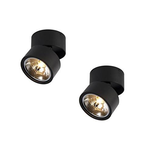 QAZQA Industrieel Set van 2 spots zwart verstelbaar – Go Nine Tubo Aluminium Rond Geschikt voor LED Max. 2 x 40 Watt