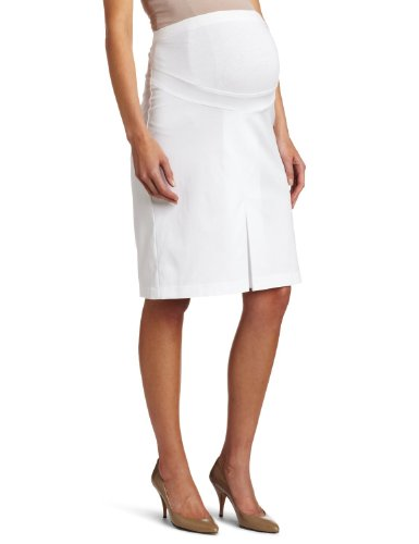 Maternal America Women's Maternity Twill Pleated Skirt, White, X-Small