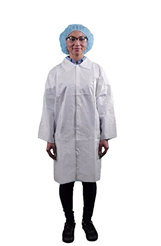 Keystone LC3-WO-KG-MED Key guard Lab Coat, 3 Pocket, Open Wrists, Snap Front, Single Collar, Small, White (Pack of 30)