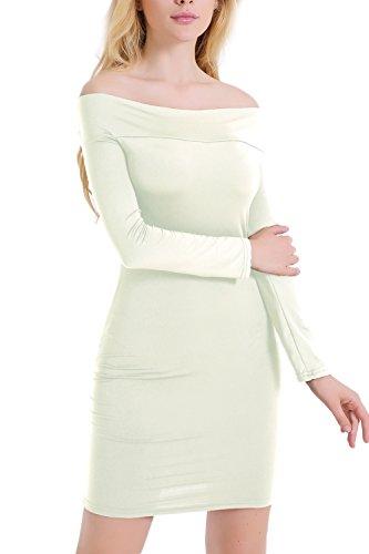 De la mujer Elegant de Cóctel Bodycon vestido manga larga White