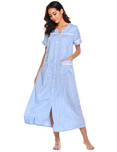 Ekouaer Women's Short Sleeve Pajamas Shirts Striped Housecoat Long Lounger Dress (Blue,S)