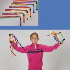 Sound Wand - Cramer 051480 Rainbow Ribbon Wands with Sound (Pack of 6)