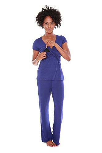 Blue Maternity Nursing Wrap Top Sleep Set Sleepwear Medium