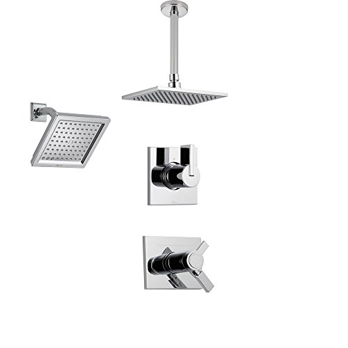 Delta Vero Chrome Shower System with Thermostatic Shower Handle, 3-setting Diverter, Large Square Ceiling Mount Rain Showerhead, and Wall Mount Showerhead SS17T5383 Delta Faucets