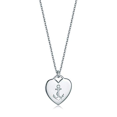- Essie Odila 18K White Gold Plated Sterling Silver Heart Pendant Necklace 18