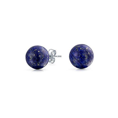 Simple Dark Blue Lapis Lazuli Gemstone Round Circle Ball Stud Earrings For Women For Men 925 Sterling Silver 10MM
