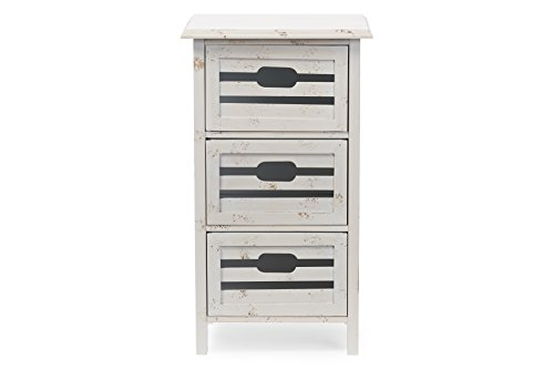 Baxton Studio Rococo Shabby Chic Vintage Pine Wood 3-Drawers Storage Cabinet, Antique White Wash Finish